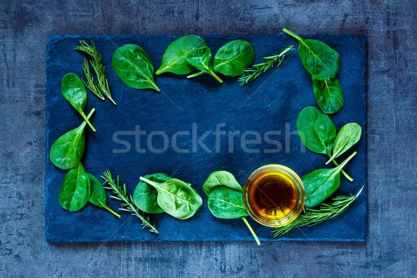 Spinazie bladeren olijfolie vers heerlijk baby Stockfoto © YuliyaGontar