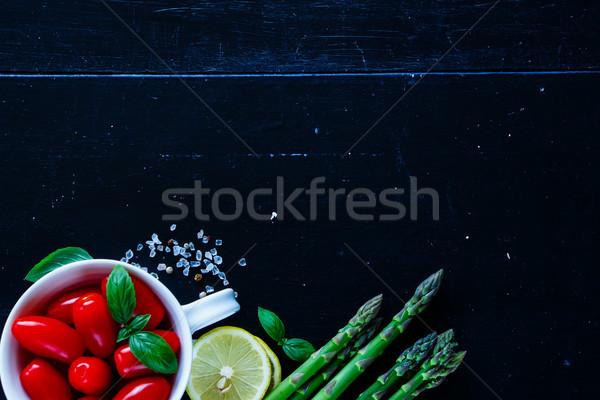 ストックフォト: 緑 · アスパラガス · 準備 · 先頭 · 表示 · 野菜