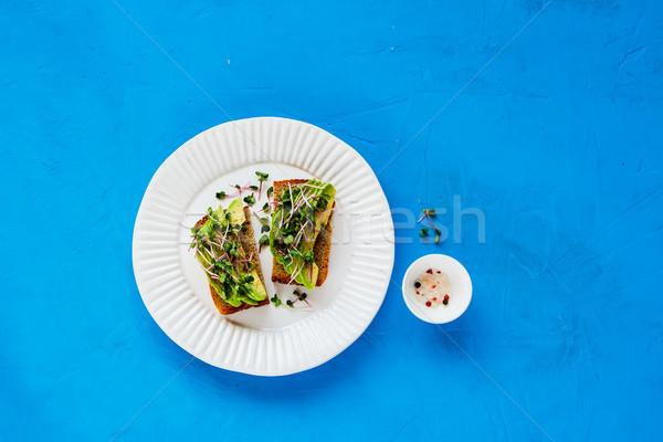 アボカド プレート 完全菜食主義者の 朝食 ランチ 明るい ストックフォト © YuliyaGontar