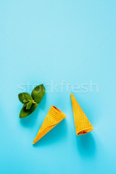 Kegel mint voorjaar zomer zoete wafel Stockfoto © YuliyaGontar