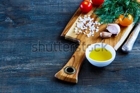 Donkere voedsel landelijk houten keukentafel Stockfoto © YuliyaGontar