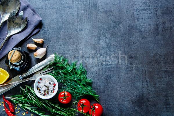 Vintage продовольствие овощей травы свежие Сток-фото © YuliyaGontar