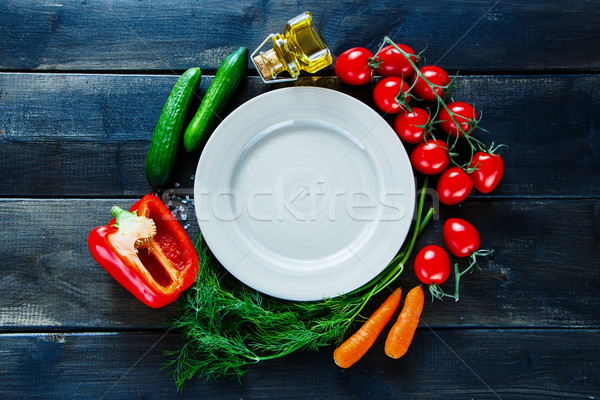 Organic vegetables and seasoning Stock photo © YuliyaGontar