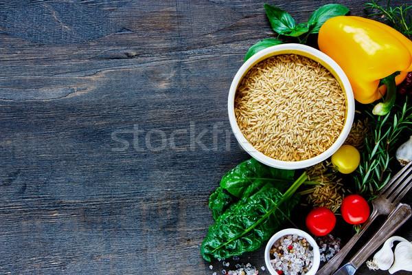 Arroz legumes saboroso vegetariano cozinhar marrom Foto stock © YuliyaGontar