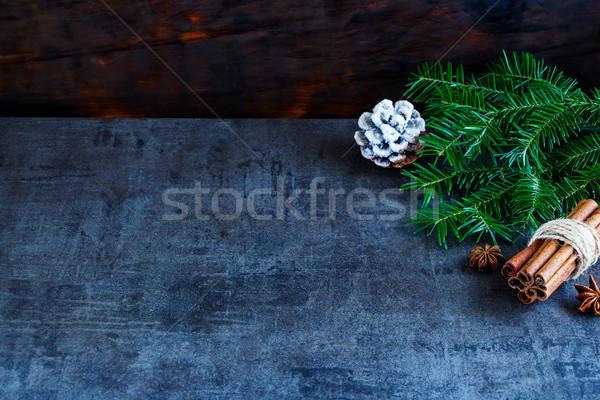 Navidad año nuevo decoración tarjeta de felicitación abeto Foto stock © YuliyaGontar
