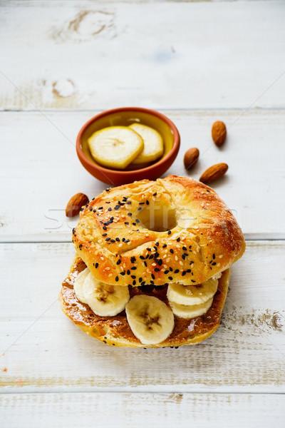 Foto d'archivio: Toast · mandorla · burro · colazione · banana · bianco
