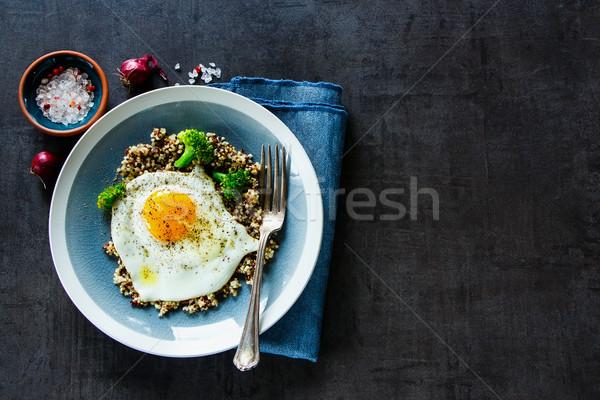 Stock fotó: Brokkoli · tojás · tál · vegetáriánus · reggeli · falatozó