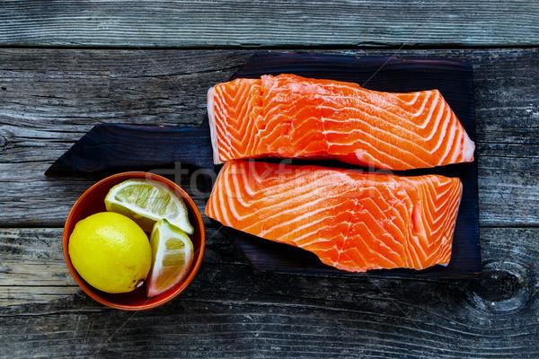 生 鮭 フィレット レモン 素朴な スタイル ストックフォト © YuliyaGontar