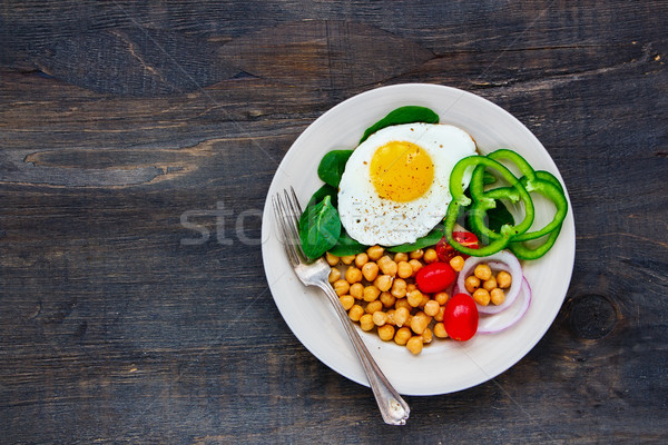 Plate with fried egg Stock photo © YuliyaGontar