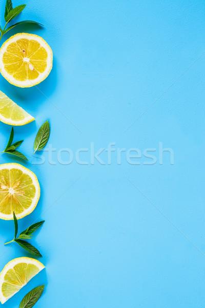 Limón rebanadas menta ingredientes verano cóctel Foto stock © YuliyaGontar