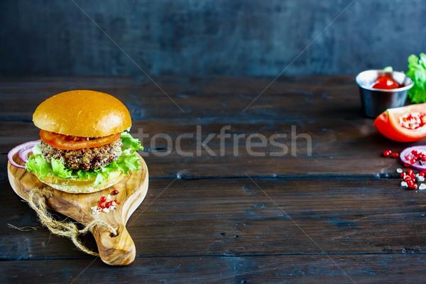 Healthy veggie burger Stock photo © YuliyaGontar