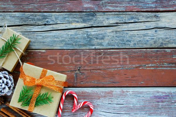 Férias cartão rústico natal caixa Foto stock © YuliyaGontar