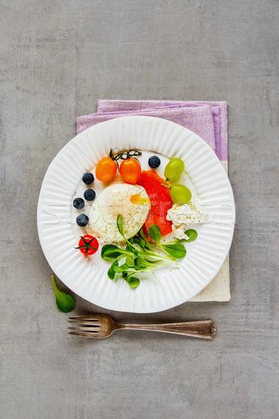 Poached egg and salmon Stock photo © YuliyaGontar