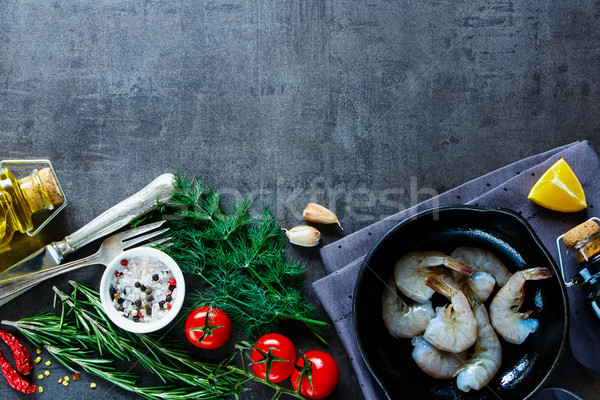 свежие морепродуктов сырой Ингредиенты креветок Сток-фото © YuliyaGontar