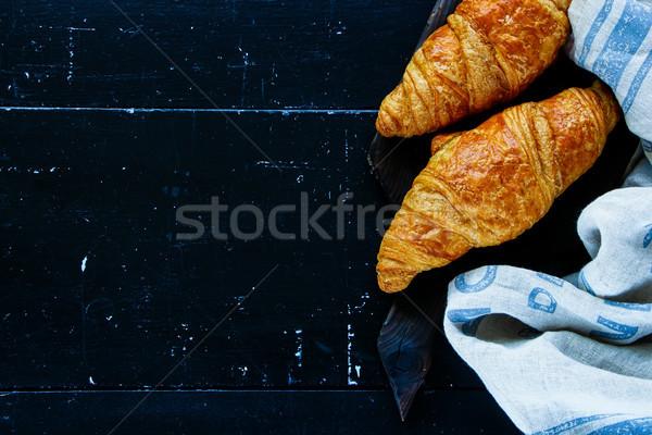 Fresh baked croissants Stock photo © YuliyaGontar