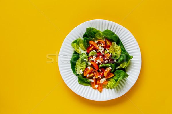 新鮮な サラダ プレート レタス フェタチーズ 赤 ストックフォト © YuliyaGontar