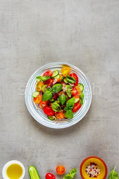 Сток-фото: здорового · Салат · Ингредиенты · красочный · пластина · свет