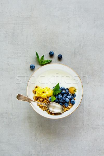 Saludable desayuno yogurt granola griego pina Foto stock © YuliyaGontar