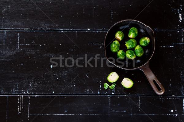 Egészséges sötét klasszikus űr szöveg vegetáriánus étel Stock fotó © YuliyaGontar