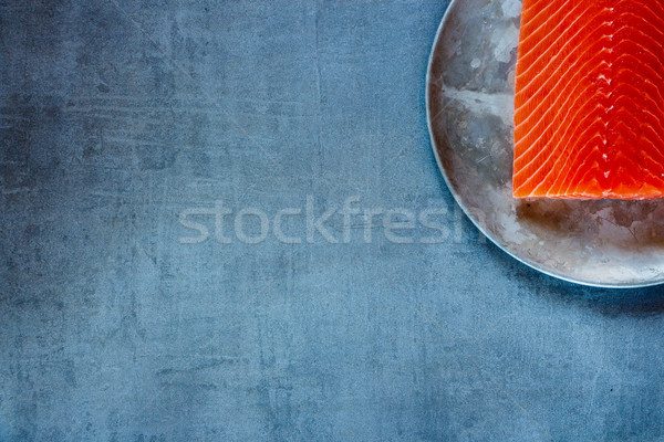 Finom nyers lazac filé öreg fém Stock fotó © YuliyaGontar