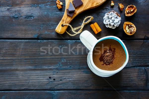 Kış sıcak çikolata lezzetli zengin tarçın beyaz Stok fotoğraf © YuliyaGontar