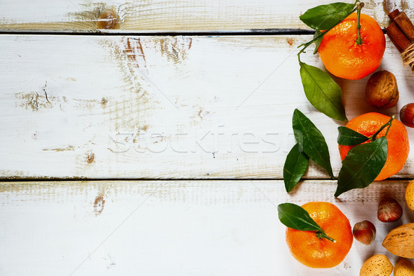 Tangerines with leaves Stock photo © YuliyaGontar