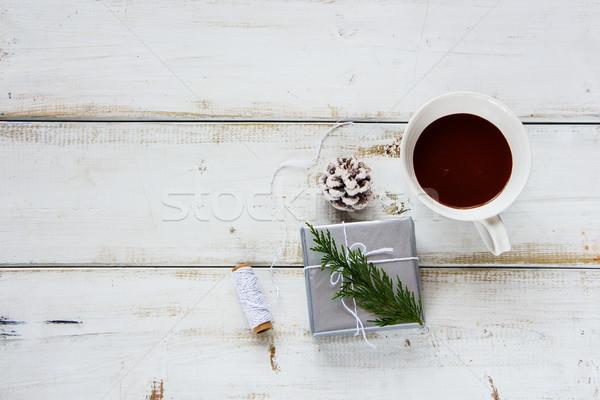 Warme chocolademelk geschenk christmas beker geschenkdoos witte Stockfoto © YuliyaGontar