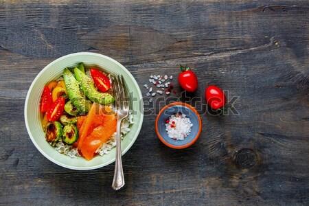 Foto stock: Buda · poder · tazón · mesa · aguacate · tomates