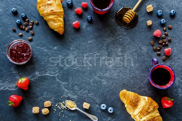Heerlijk ontbijt ingesteld zomer bessen vruchten Stockfoto © YuliyaGontar