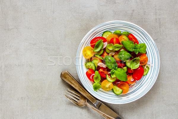 Сток-фото: здорового · Салат · пластина · красочный · помидоры · черри · огурцы