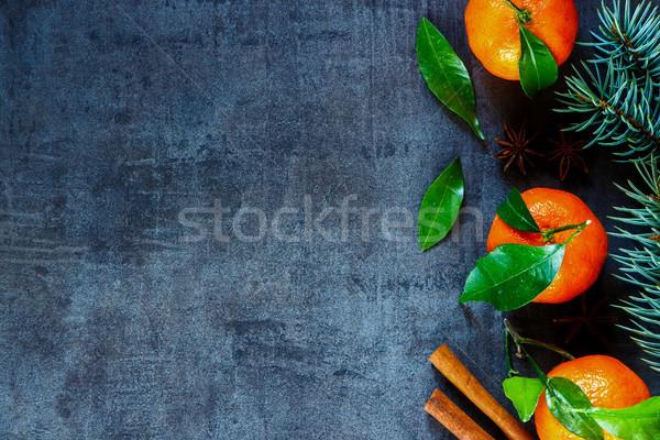 クリスマス 葉 装飾 暗い ヴィンテージ クリスマスツリー ストックフォト © YuliyaGontar