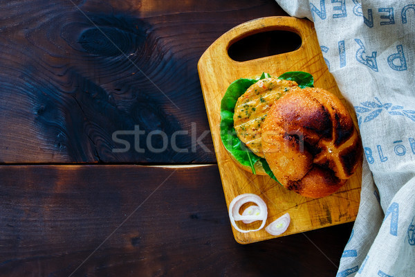 Fish and crab burger Stock photo © YuliyaGontar