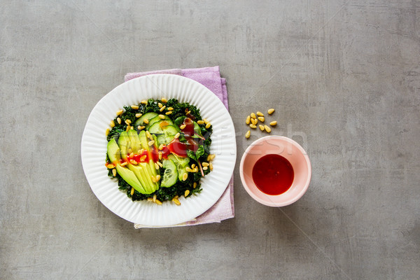 Stok fotoğraf: Yeşil · vegan · salata · sağlıklı · plaka · avokado