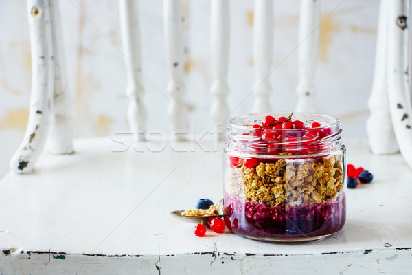 グラノーラ ブルーベリー スグリ 赤 レイヤード ガラス ストックフォト © YuliyaGontar