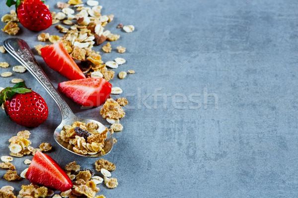 Cuchara granola vintage muesli servido frescos Foto stock © YuliyaGontar