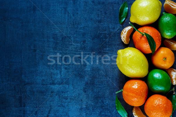 Citrus gyümölcsök levelek friss sötét klasszikus Stock fotó © YuliyaGontar