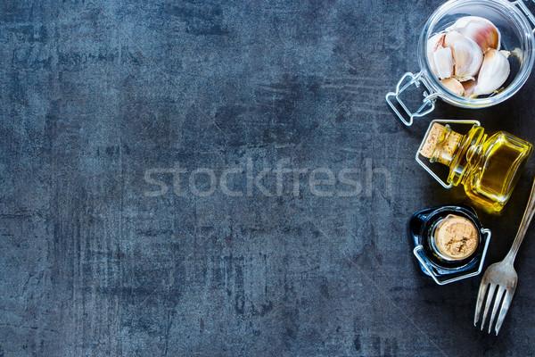 приготовления Ингредиенты свежие чеснока стекла банку Сток-фото © YuliyaGontar