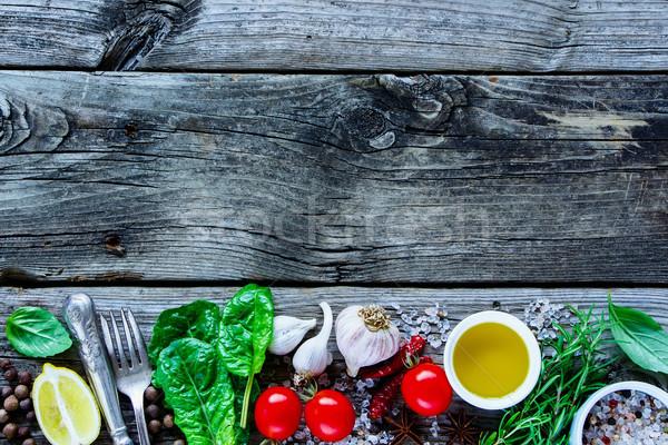 健康 料理 素朴な 木製 生 ストックフォト © YuliyaGontar