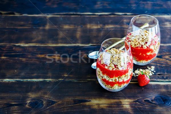 Healthy breakfast glasses Stock photo © YuliyaGontar
