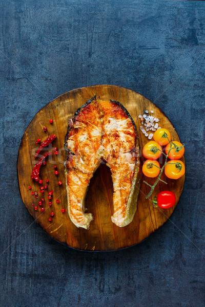 Grillezett lazac steak tengeri hal felső kilátás Stock fotó © YuliyaGontar