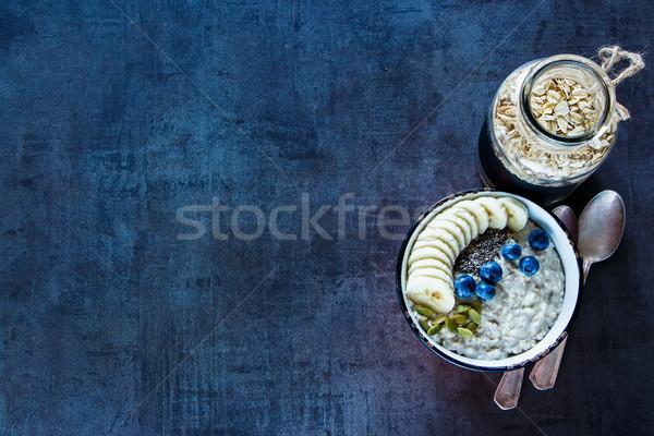 Házi kása egészséges reggeli klasszikus kerámia Stock fotó © YuliyaGontar