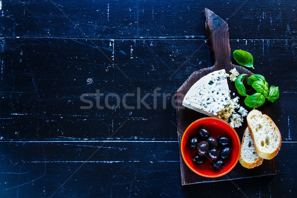 新鮮な ブルーチーズ オリーブ バジル パン スライス ストックフォト © YuliyaGontar