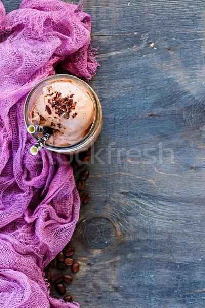 ストックフォト: 氷 · コーヒー · ホイップクリーム · アイスクリーム · 切り · ダークチョコレート