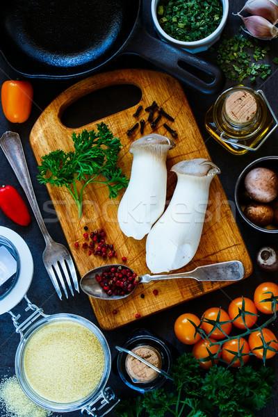 Couscous legumes frescos ingredientes cozinhar rústico Foto stock © YuliyaGontar