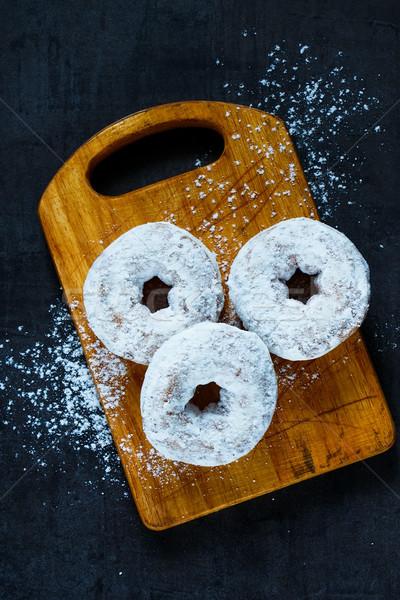 Eigengemaakt donuts suiker poeder rustiek Stockfoto © YuliyaGontar