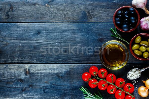 Comida italiana ingredientes cocina ajo pimienta Foto stock © YuliyaGontar