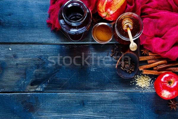 Készít bor sötét rusztikus színes hozzávalók Stock fotó © YuliyaGontar