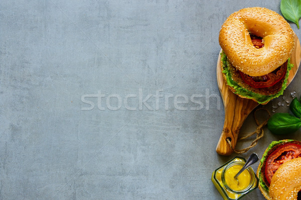Smakelijk veganistisch sandwich twee sandwiches vers Stockfoto © YuliyaGontar