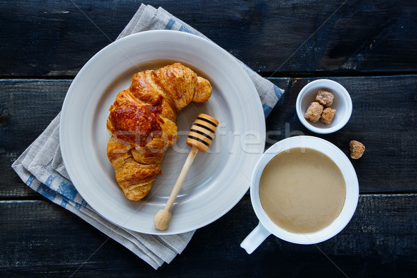 Croissant and coffee Stock photo © YuliyaGontar