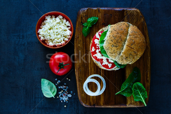 Stock photo: Vegetarian sandwich with feta cheese